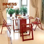 木餐桌椅组合小户型可伸缩折叠餐桌多功能人桌简约移动吃饭桌子