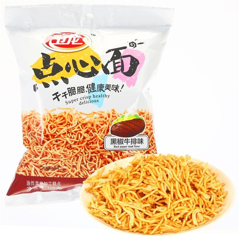 【优品超市】卫龙 休闲零食 方便食品干脆面 点心面黑椒牛排味100g/袋