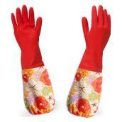 带绒家务手套橡胶加绒加厚洗衣洗碗家用手套 套装 内含 短款和长款各1双