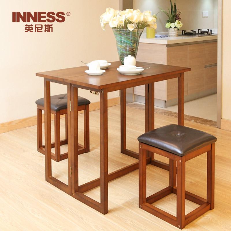 纯实木餐桌折叠小户型吃饭桌子创意简约现代家用长方形餐桌凳组合一桌2凳