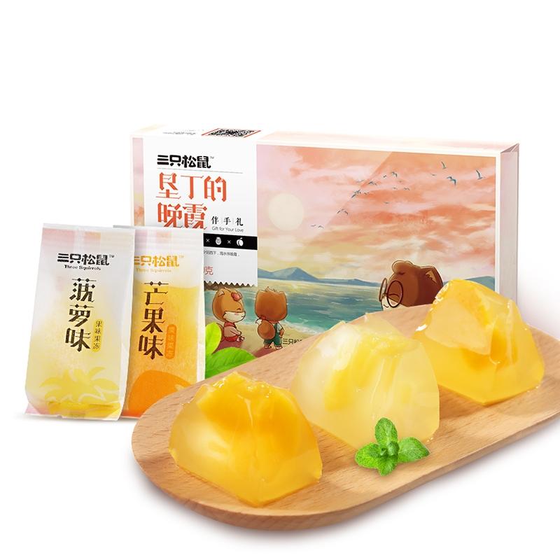 【优品超市】三只松鼠休闲零食芒果/黄桃/菠萝味果肉布丁果肉果冻360g/盒
