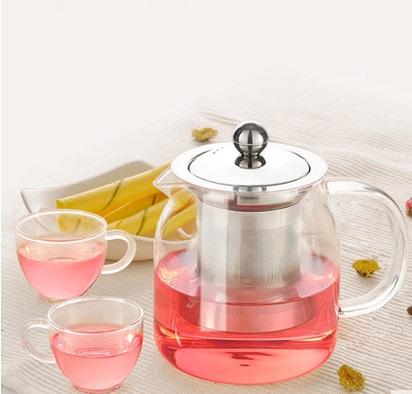 耐热玻璃茶壶不锈钢加厚全过滤花茶壶茶杯泡茶壶茶具套装(高硼硅玻璃 超细密过滤 手工吹制 不锈钢内胆)