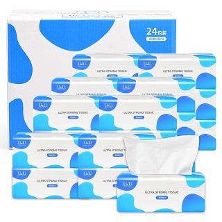 UU纸巾家用抽纸实惠装厕所一箱特价抽取式餐厅纸手抽24包80抽4层320张原生木浆