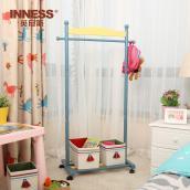 儿童衣服架落地卡通纯实木卧室双杆移动置物架创意挂衣架子衣帽架