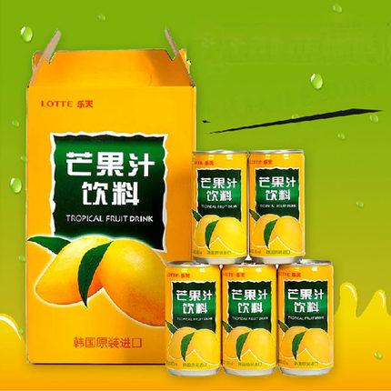 亚历蒂斯韩国进口饮料饮品乐天芒果汁一整箱180mlx15罐零食品