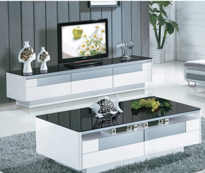 钢化玻璃黑白茶几客厅家具储物