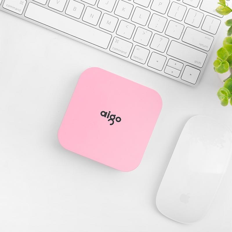 爱国者(aigo)10000毫安 OL10400 双USB输出 通用便携迷你 移动电源/充电宝 粉色