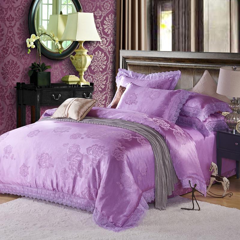 莫代尔贡缎提花四件套纯棉欧式奢华1.8m床上用品全棉婚庆床单被套