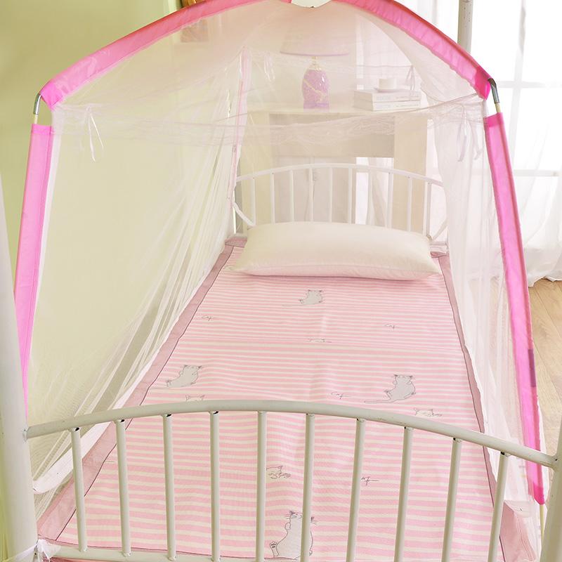 学生蒙古包蚊帐 1.0米床 单人床有底三开门折叠蚊帐 粉色 95X190X100cm