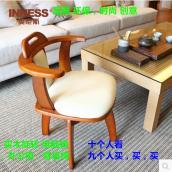 实木餐桌椅转椅简约现代带扶手靠背旋转椅创意休闲椅子家用电脑椅