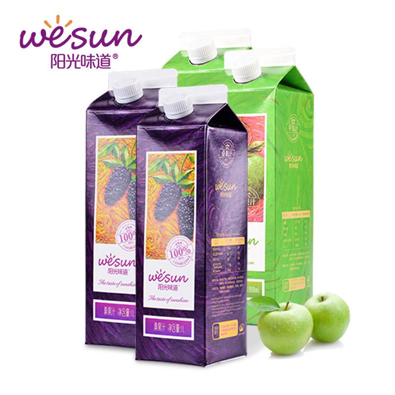 阳光味道纯桑椹汁1LX2盒纯苹果汁1LX2盒