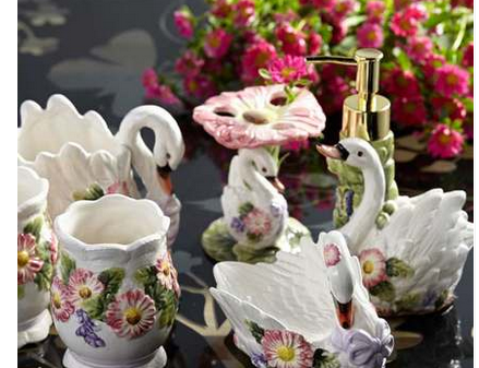 天鹅浴室生活用品出口陶瓷浴室洁具卫浴6件套洗漱用品